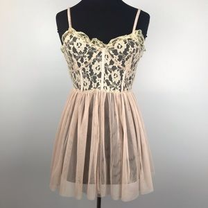 See You Monday Blush & Nude Lace Sheer Dress